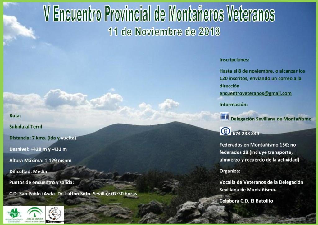 Cartel del V Encuentro Provincial de Montañeros Veteranos