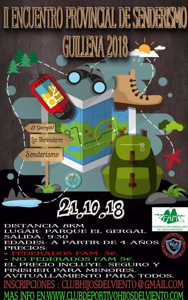 Cartel del II Encuentro Provincial de Senderismo Guillena 2018