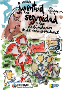 Cartel del Primer encuentro nacional de seguridad en actividades con menores en el medio natural.